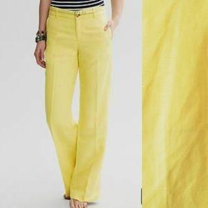 NWT Banana Republic, linen, yellow, trouser, 6P